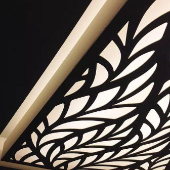 St Pierre Hotel & Spa - Guernsey. Laser cut suspended light feature. Frond design.
