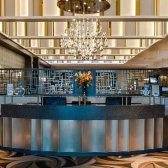 Radstone Hotel - Scotland. Reception and restaurant. Laser cut screens - Squared design.