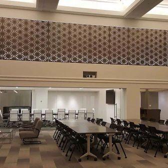 North LaSalle - Chicago. Laser cut screens - Atrium. Compass design.