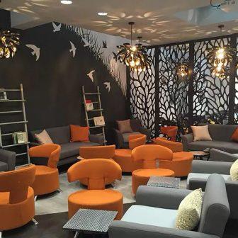 The Wesley Hotel Bar - London Laser cut room divider - Autumn design.