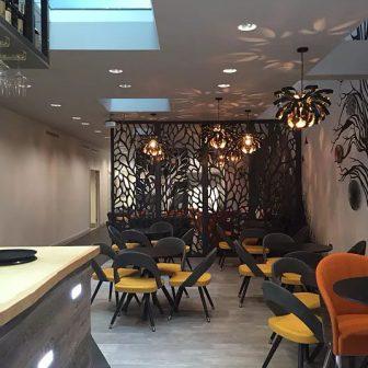 The Wesley Hotel Bar - London. Laser cut room divider - Autumn design.