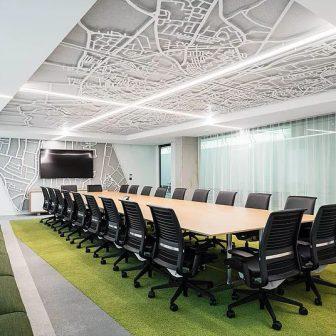 Quartz Building - Dublin. Willis boardroom. Suspended ceiling map of Dublin.