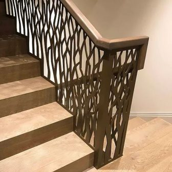 Balustrade - Private client - London. Laser cut screens finished in bronze.