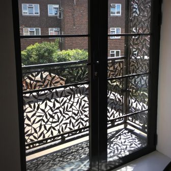 Balcony infill - Tiger Leaf design. Private client - London.