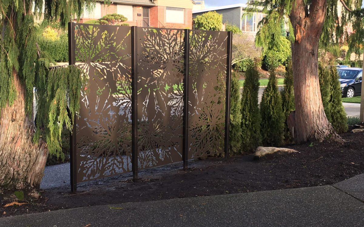 Laser Cut Privacy Panels - Chestnut Design - Medium Bronze