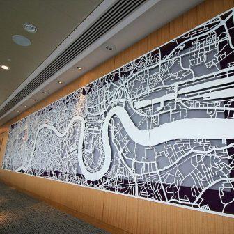 Laser Cut Screen - Map of London 22nd Floor Board Room